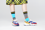 Happy Socks MIX01-0100 Mix And Match Sock - women's cotton odd socks with black and white stripes, light blue, orange and metallic gold