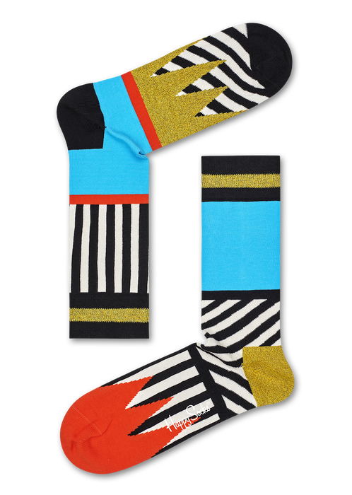 Happy Socks MIX01-0100 Mix And Match Sock - cotton odd socks with black and white stripes, light blue, orange and metallic gold