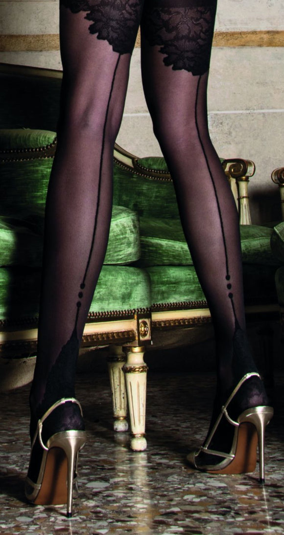 Trasparenze Ninfa Collant - Sheer faux hold-up effect fashion tights with a black lace style top and sole and back seam.