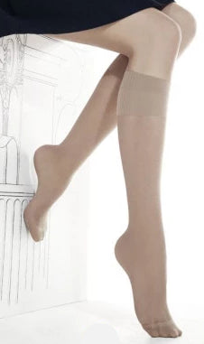 Omero Alpha 40 Gambaletto - black semi-sheer 40 denier knee-high socks