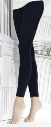 Omero SO070A1268 Cashmere Treggings - Black thermal leggings in soft viscose-cashmere mix, with a warm pile lining, seamless body and inside seam.