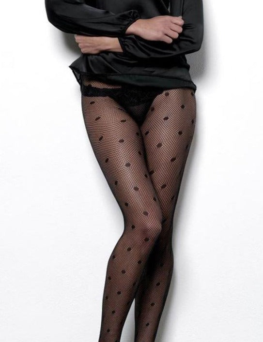 Omero Lauren Collant - black fishnet mesh fashion tights with polka dot pattern