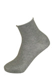 Omsa Taglio Al Vivo - light grey quarter high soft cotton socks with roll top cuff