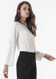 Omsa 3643 Camicia Bottone - Light flowy off white round neck top with open flared sleeves and diamante button closure