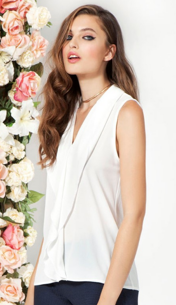 Omsa 3501 Essence Camicia - sleeveless blouse top with flowy frill v-neck, available in white and navy