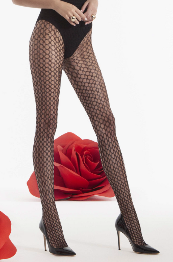 Omsa Geometrico Rete Collant - openwork crochet style fishnet fashion tights, available in black and beige