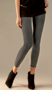 Omsa Glitter Pantacollant - grey thermal fashion leggings with a sparkly speckled print on the front
