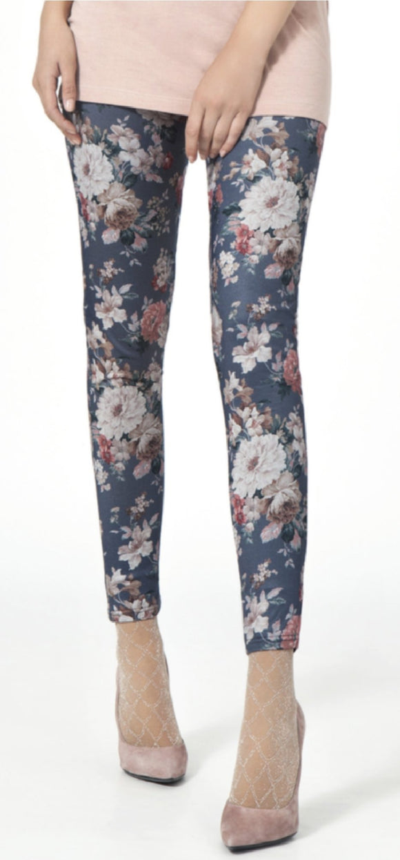 Omsa 3029 Original Leggings - Soft dark blue treggings/jeggings in light viscose mix with all over floral print pattern.