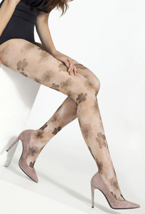 Omsa 3583 Side Collant - Sheer seamless fashion tights with an all over floral print pattern. Available in black/blue and nude/black
