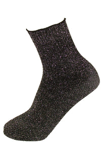 Omsa Special Calzino - black ribbed fashion ankle socks with sparkly glitter silver metallic lamé