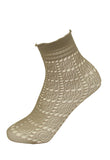 Omsa Sugar Calzino - light grey openwork crochet style ankle socks with a square and circular lace pattern, hem-less comfort cuff with a frill edge.