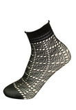 Omsa Sugar Calzino - black openwork crochet style ankle socks with a square and circular lace pattern, hem-less comfort cuff with a frill edge.