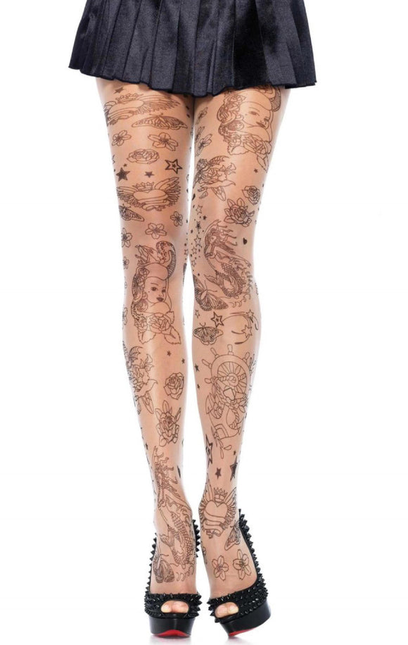 Pamela Mann Tattoo Tights - sheer nude tights with all over nautical tattoo print of stars, hearts, anchors and mermaids