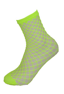 Pamela mann - Extra Large Net Ankle Socks - bright neon yellow wide fishnet socks