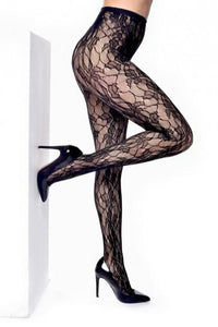 Pamela Mann Orchid Leaf Tights - black openwork lace tights