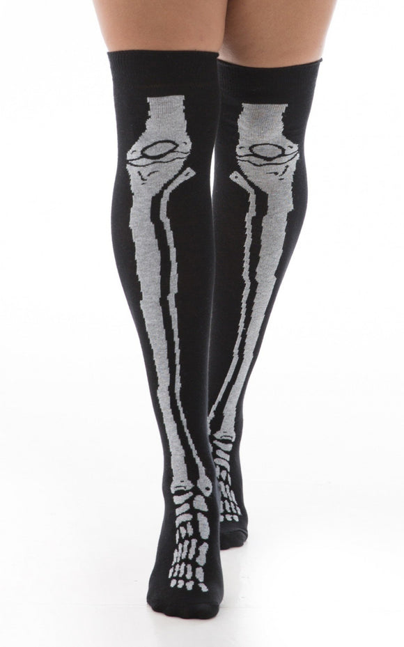 Pamela Mann Skeleton Bones Over The Knee Socks - black cotton over-knee socks with white x-ray bones legs and feet pattern, perfect for Halloween