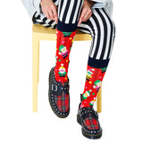 Happy Socks SAN01-4400 Santa Sock - Red cotton Christmas socks with multicoloured Santa pattern, dark navy cuff and toe, green sole and pink heel. Available in men and women size.