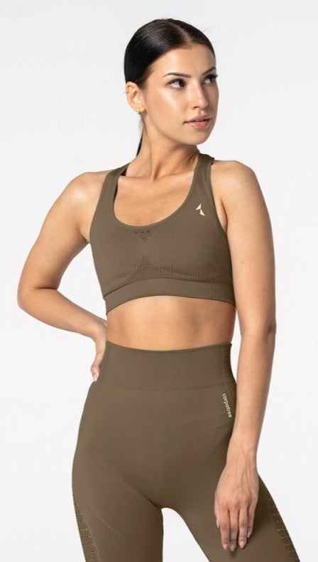 Carpatree Phase Seamless Bra - Khaki green / brown seamless sports bra with removable padding and razor back with crochet style detail.