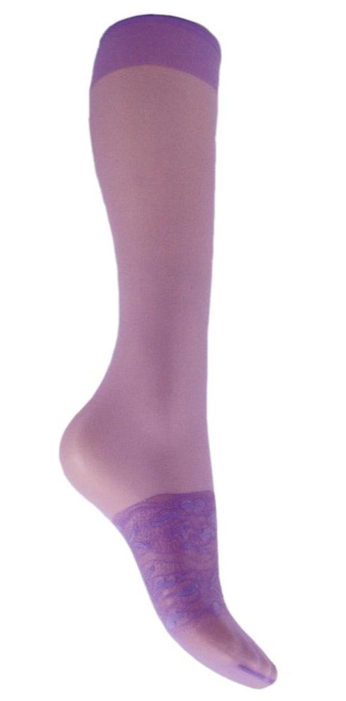 Omsa 3159 Secret Gambaletto - light purple/lilac fashion knee-high with lace band on foot