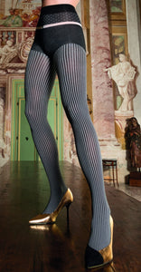 Trasparenze Sfinge Collant - Soft black opaque fashion tights with a white thin vertical stripe pinstripe, black panty top and spot patterned waist band.