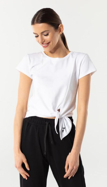 Carpatree Side T-Shirt - Short white sports t-shirt with a side tie knot. Made of soft and cool polyester fabric.