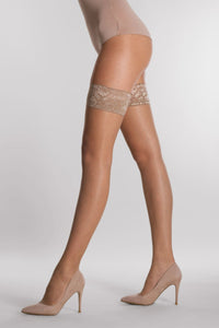 Silvia Grandi - Top 15 Autoreggente - sheer lace top hold-ups/stay-ups in tan and black. Available in XL and XXL