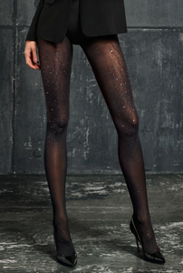 SiSi 1598 Cosmos Collant - black seamless opaque tights with silver speckled print