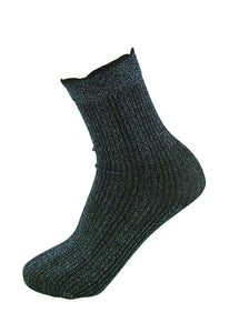 SiSi Costa Calzino - black opaque fashion ankle socks with a ribbed blue sparkly glitter lamé design
