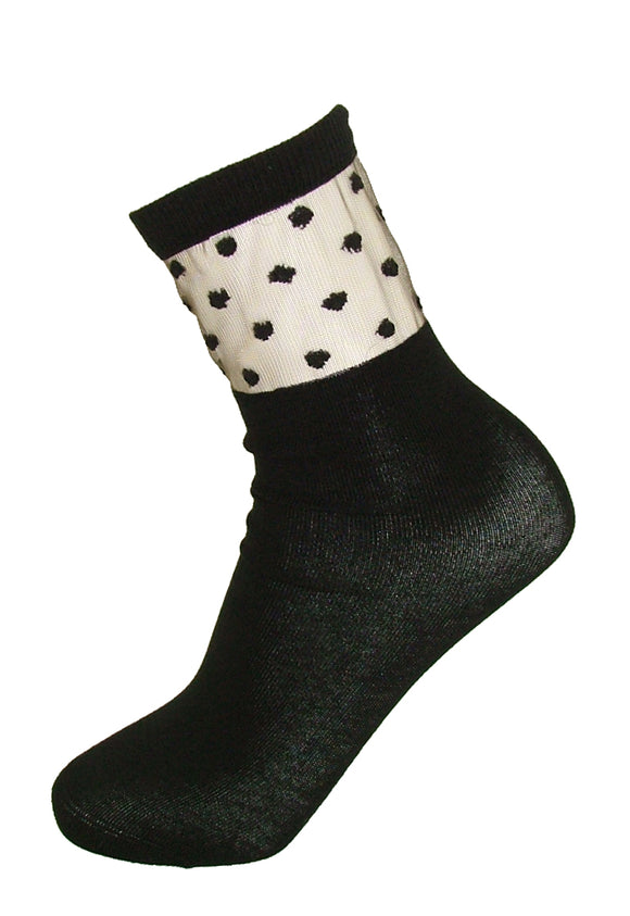 SiSi Decoro Calzino - black fashion ankle socks with a transparent sheer tulle panel and polka dots