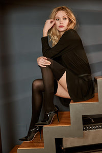 SiSi Parigina Essenziale - black opaque over the knee socks with clack sparkly lamé cuff edge