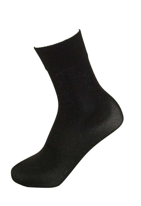 SiSi 1674 Lux Calzino - Black opaque fashion ankle socks with black sparkly lamé and deep elasticated comfort cuff.