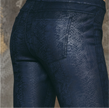 SiSi Y567SI Trendy Pantaleggings - Navy trouser leggings with black snake print pattern, back pockets, faux front pockets and fly stitching.