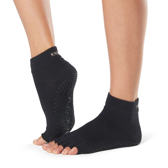 ToeSox Ankle Half Toe Socks - black open toe/toeless ankle socks with grip sole, ideal for pilates and yoga