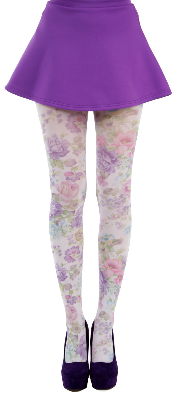 Pamela Mann Spring Flower Tights - white tights with floral print pattern in pink, purple, blue and green