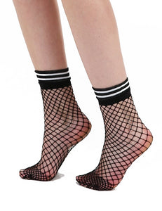 Pamela Mann - EXTRA LARGE NET ANKLE SOCKS WITH STRIPED WELT - black fishnet socks with white striped sports cuff