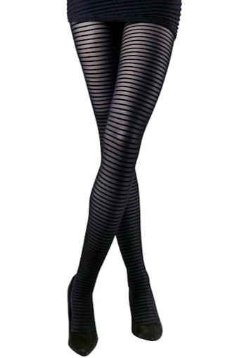 Emilio Cavallini 5D04.1.88 Thin-Striped Tights - sheer black horizontal stripe tights with back-seam