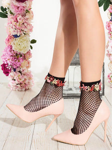 Trasparenze Daffodil Calzino - black fishnet fashion ankle socks with multicoloured embroidered flower cuff edge