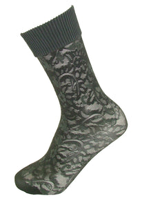 Trasparenze Moscato Calzino - Grey semi opaque fashion ankle socks with a floral lace style pattern and deep ribbed comfort cuff.