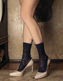 Trasparenze Moscato Calzino - Navy semi opaque fashion ankle socks with a floral lace style pattern and deep ribbed comfort cuff.