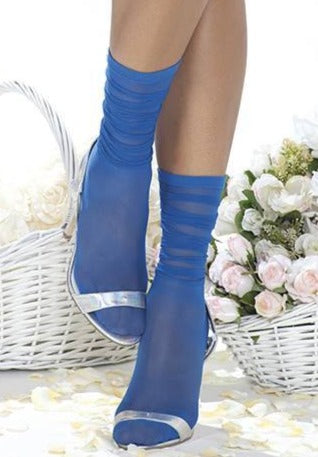 Trasparenze Tuxedo Calzino - sheer fashion ankle socks with a scrunched effect cuff, available in blue and white