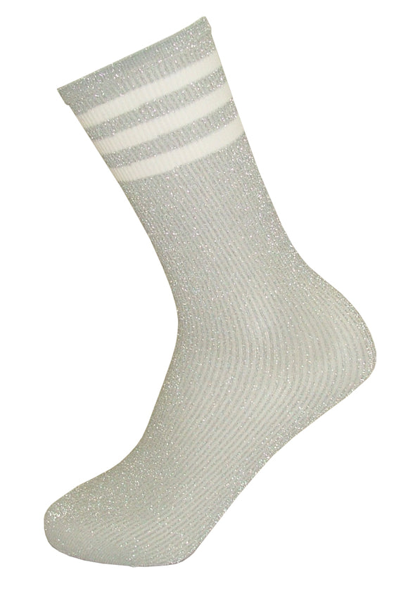 Trasparenze Zinnia Calzino - Silver sparkly high ankle socks with 3 white sports style stripes on cuff