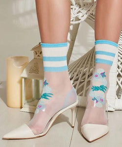 Trasparenze Guava Calzino - fashion ankle socks with flower motif and sports stripe cuff