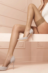 Trasparenze Ambra Autoreggente - micro fishnet hold-ups with lace top and silicone, available in tan/nude, red and white