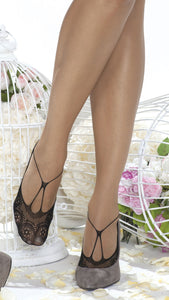 Trasparenze Sidecar - lace shoeliner / footie in floral lace fishnet with criss-cross straps