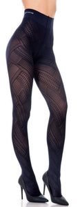 Trasparenze Soave Collant - Navy semi-opaque fashion tights with a geometric zig-zag style pattern