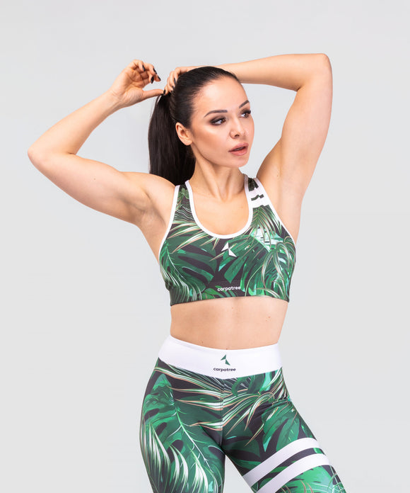 Carpatree Tropical Classic Bra - green leaf print activewear sports cropped top