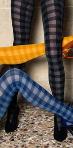 Trasparenze Vachiria Collant - Soft opaque fashion tights with a two tone square gingham style pattern. Available in mustard, blue/navy and grey/black