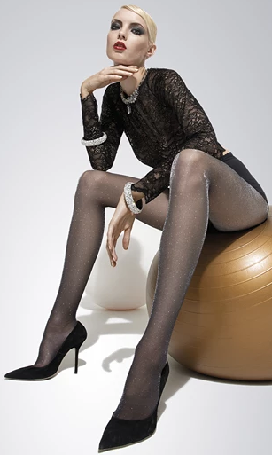 Trasparenze Vlinder Collant - sparkly glitter semi sheer tights with silver or gold lurex, perfect for the party season
