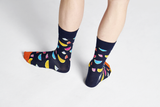 Happy Socks WAT01-6500 Watermelon Sock - men's navy cotton ankle socks with multicoloured watermelon slices