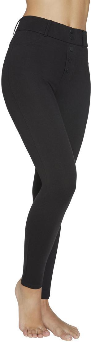 Ysabel Mora 70242 Push-Up Treggings - Black mid rise trouser leggings with that shape the legs right up to the waist. They have a black side zip closure, belt loops, back pockets, faux button up fly and front pocket stitching.